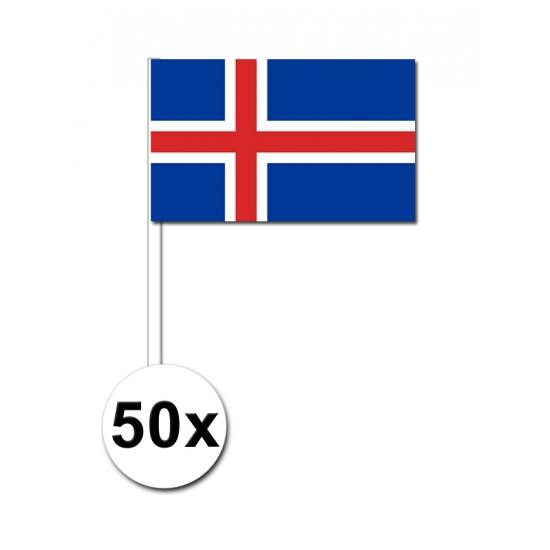 Image of 50 papieren zwaaivlaggetjes IJsland 12 x 24 cm