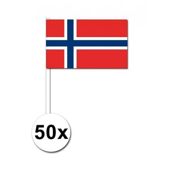 Image of 50 papieren zwaaivlaggetjes Noorwegen