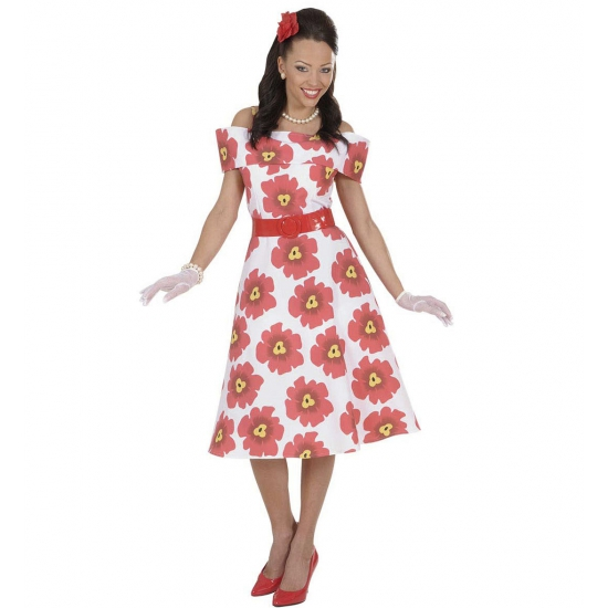Image of 50s dames jurk met bloem motief