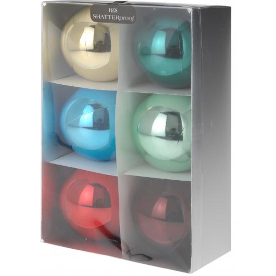 Image of 6 kerstballen bonte kleuren