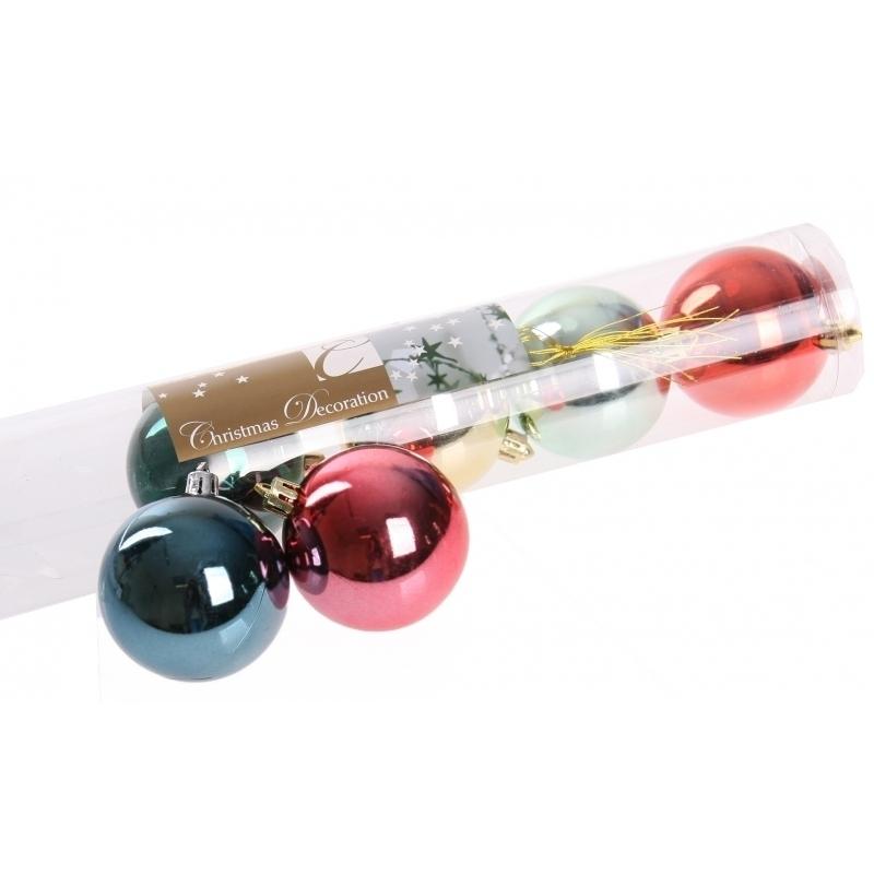 Image of 6 kerstballen glanzend bonte kleuren