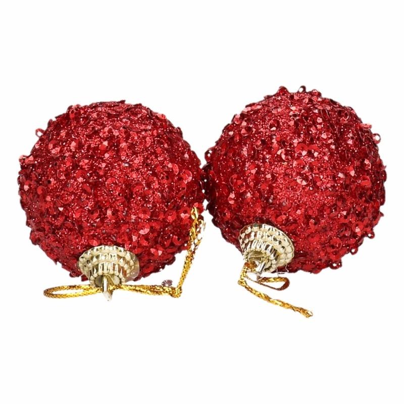 Image of 6 rode kerstballen 5 cm