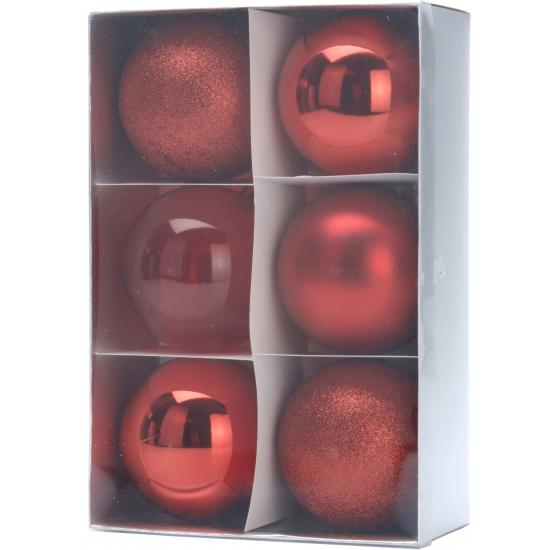 Image of 6 rode kerstballen 8 cm