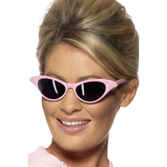 Image of 60s zonnebril lichtroze met diamant