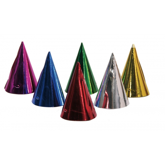 Image of 6x feesthoedjes gekleurd