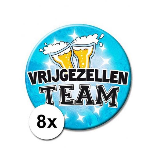 8 vrijgezellen feest XXL buttons blauwe