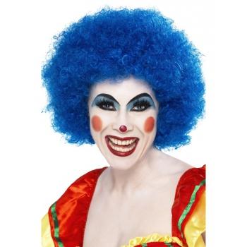 Image of Afro clowns pruiken blauw