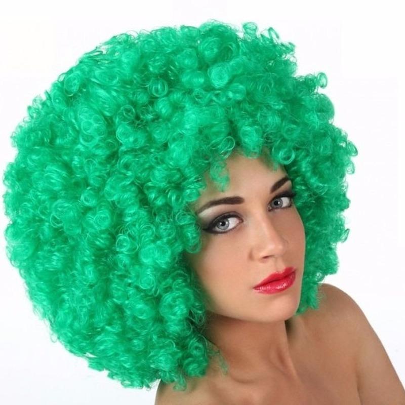 Image of Afro pruik groen