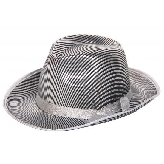 Image of Al capone hoeden zilver met zwart