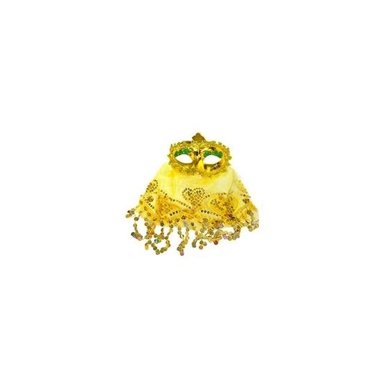 Image of Arabisch oogmasker met sluier geel