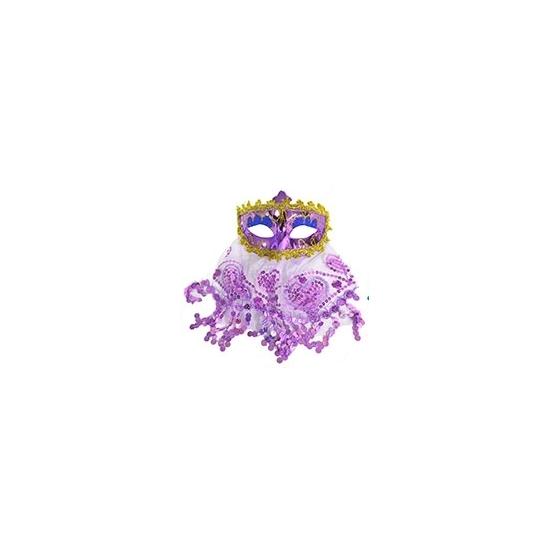 Image of Arabisch oogmasker met sluier paars