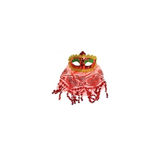 Image of Arabisch oogmasker met sluier rood