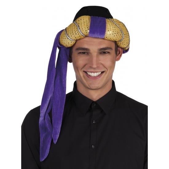 Image of Arabische tulband hoed goud met paars