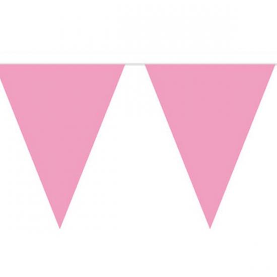 Image of Baby roze vlaggetjes slinger 10 meter