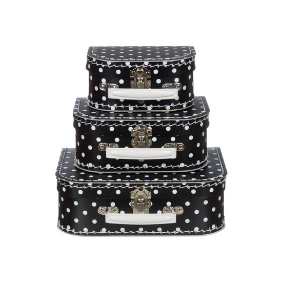 Babykamer koffertje zwart met witte stippen 20 cm
