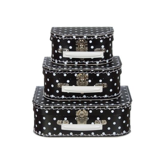 Image of Babykamer koffertje zwart met witte stippen 25 cm