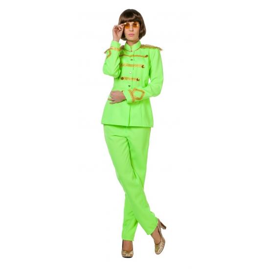 Image of Beatles album Sgt Pepper groen kostuum voor vrouwen