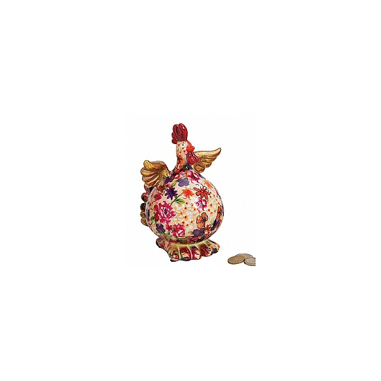 Image of Beige kip spaarpot met bloemen