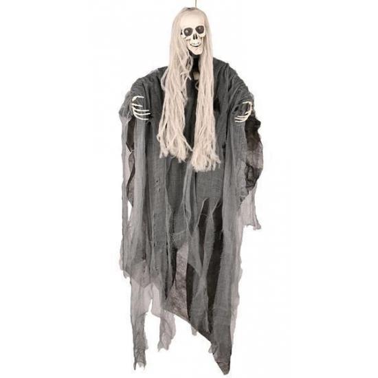 Image of Bewegend decoratie skelet met lang haar