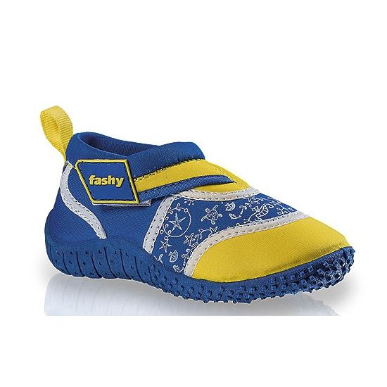 Image of Blauw/gele kinder waterschoenen