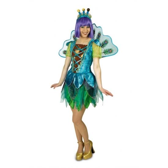 Image of Blauw/groene pauw jurkje voor dames