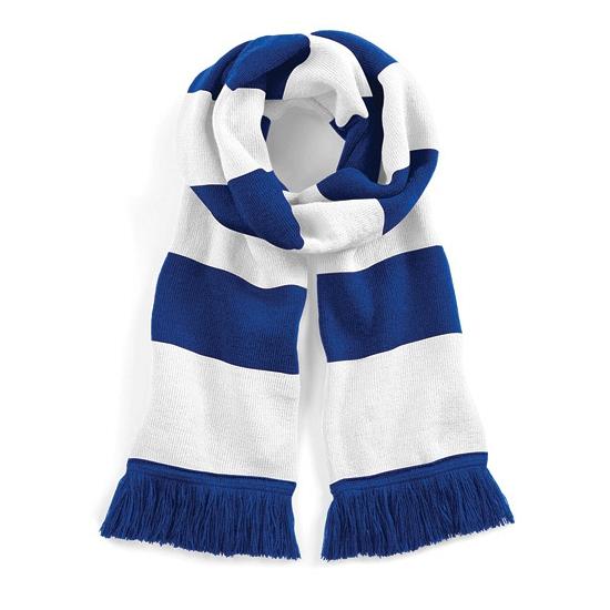 Image of Blauw met wit gebreide sjaal