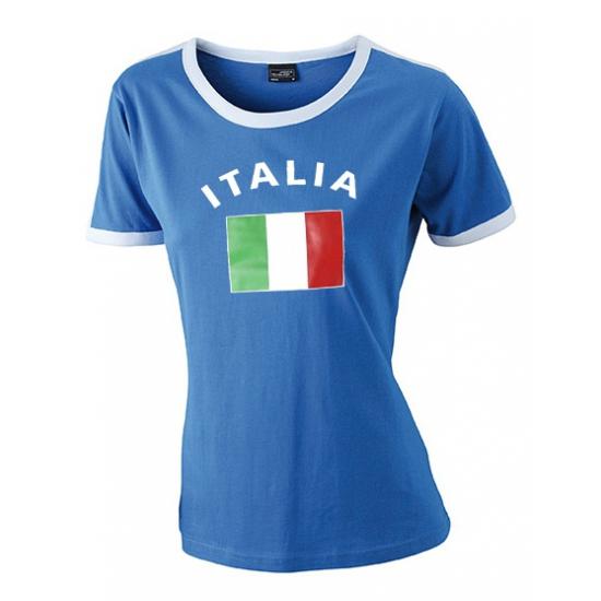 Image of Blauw met wit t-shirt Italie dames