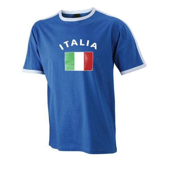 Image of Blauw met wit t-shirt Italie heren