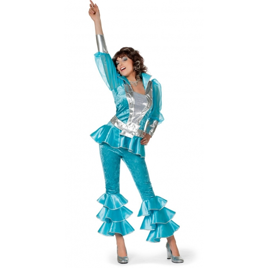 Image of Blauw met zilver disco outfit dames