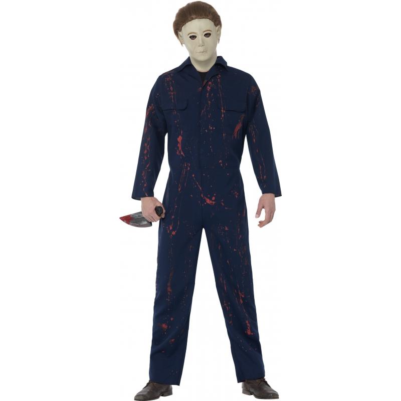 Image of Blauwe bebloede overall voor heren