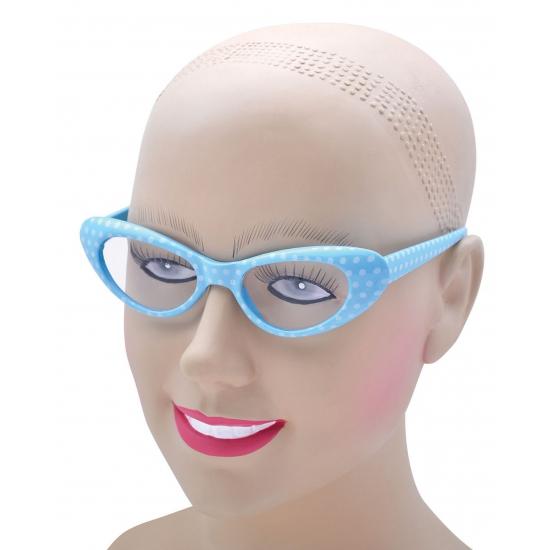 Image of Blauwe dames bril in vlindervorm jaren 60