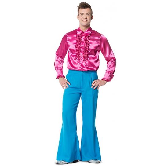 Image of Blauwe heren verkleed broeken wijd uitlopend