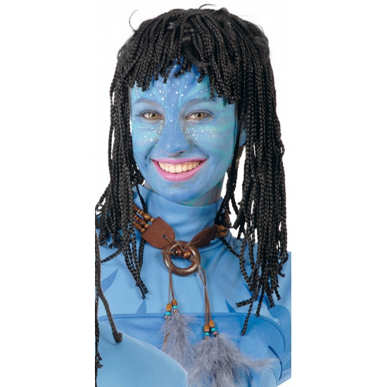 Image of Blauwe jungle strijder pruik voor dames