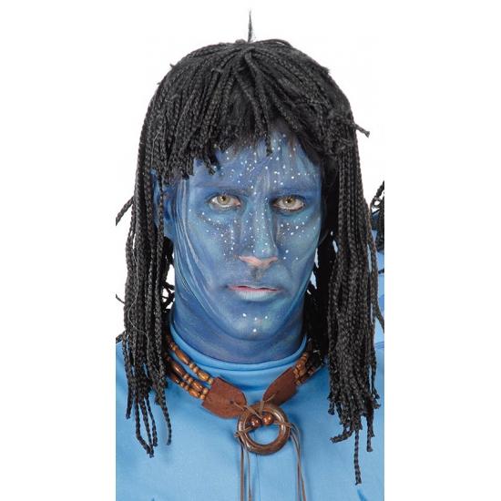 Image of Blauwe jungle strijdster pruik voor heren