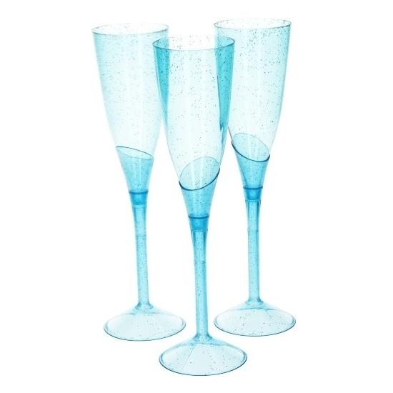 Image of Blauwe plastic champagne glazen 3 stuks