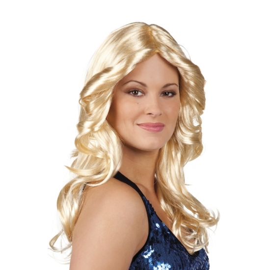 Image of Blonde dames pruik met krullen