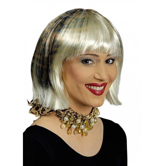 Image of Blonde korte bob met luipaardprint pruik