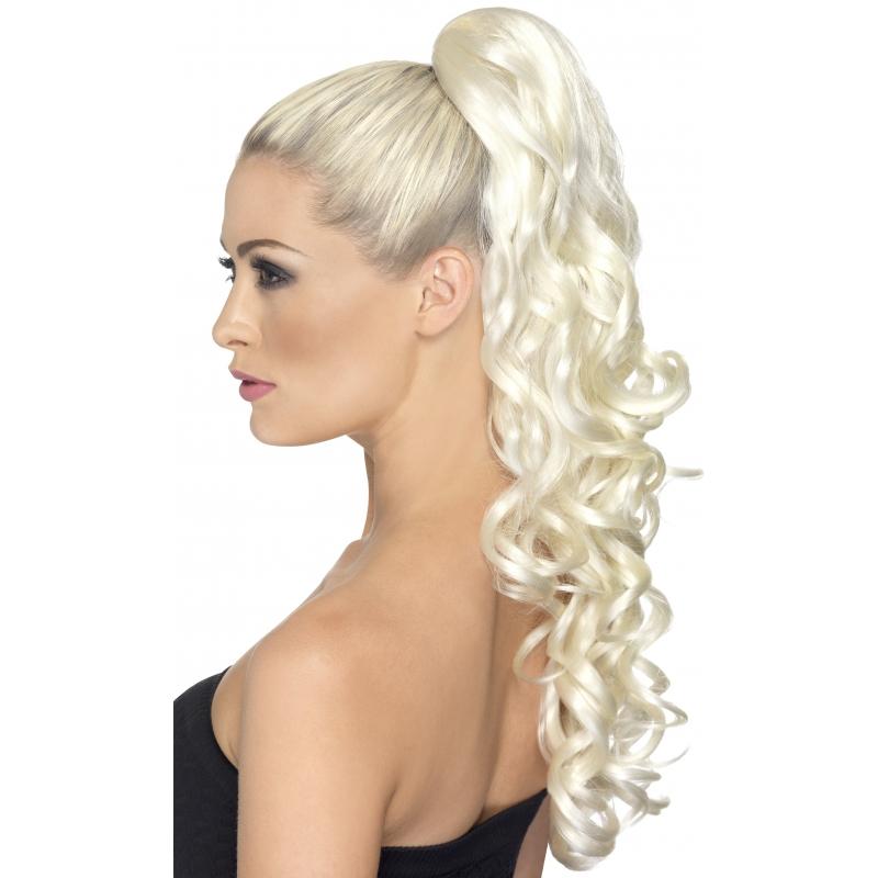 Image of Blonde paardestaart extension met krullen aan klem