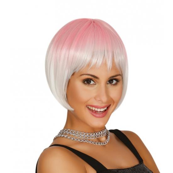 Image of Boblijn pruik zilver met roze