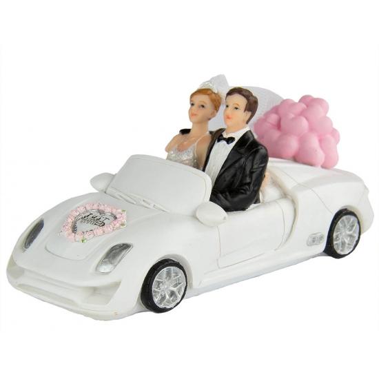 Image of Bruidspaar in witte cabrio taart decoratie 14 cm