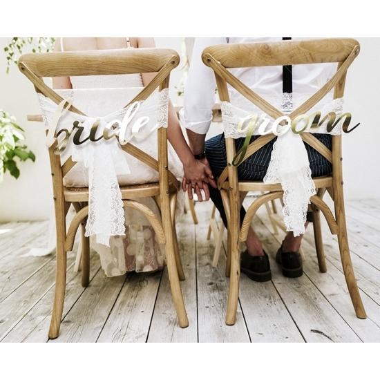 Image of Bruidspaar stoeldecoratie Bride and Groom
