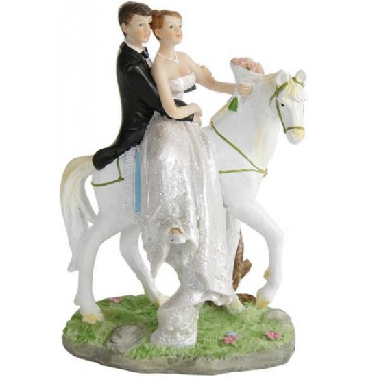 Image of Bruidspaar te paard taart decoratie 15 cm