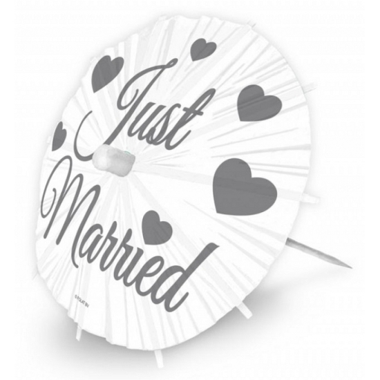Image of Bruiloft cocktail parasols Just Married