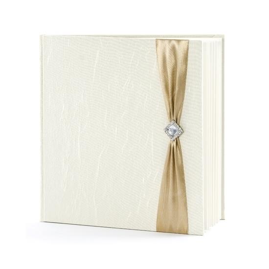 Image of Bruiloft gastenboek creme met goud