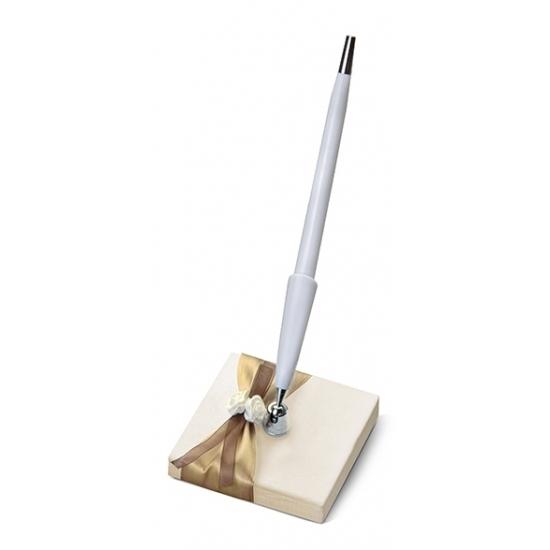 Image of Bruiloft pennenhouder met goud lint