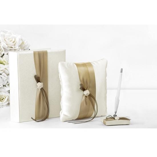 Image of Bruiloft receptie accessoires set goud lint