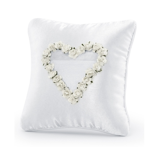 Image of Bruiloft ringkussen wit met hart