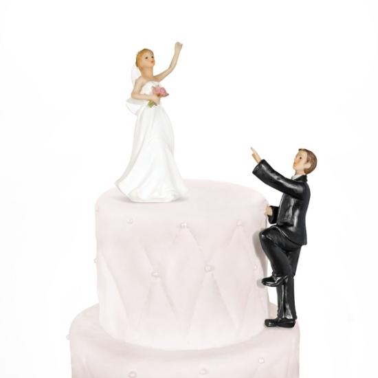 Bruiloft Taart Poppetjes Klimmende Bruidegom Oranjeshopper
