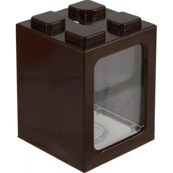 Image of Bruin bouwsteentje spaarpot 11 cm