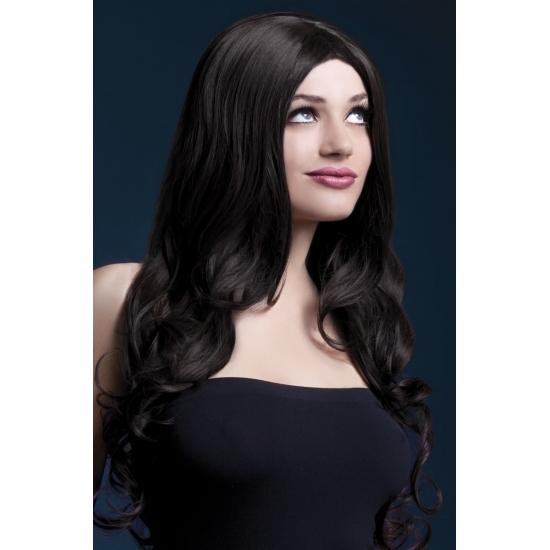 Image of Bruine glamour krullen damespruik